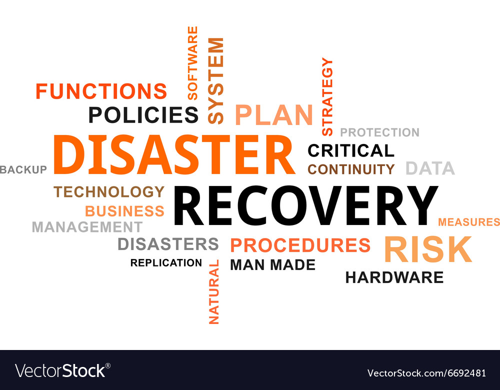 Word cloud disaster recovery vector