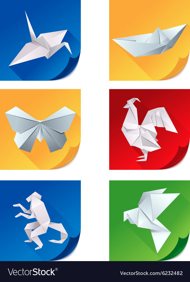 Set of white origami animal icons vector