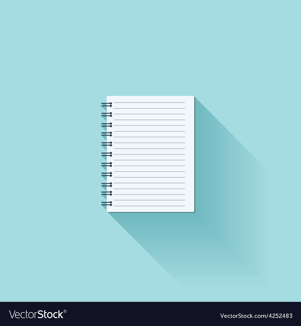 Notepad flat cion with shadow vector