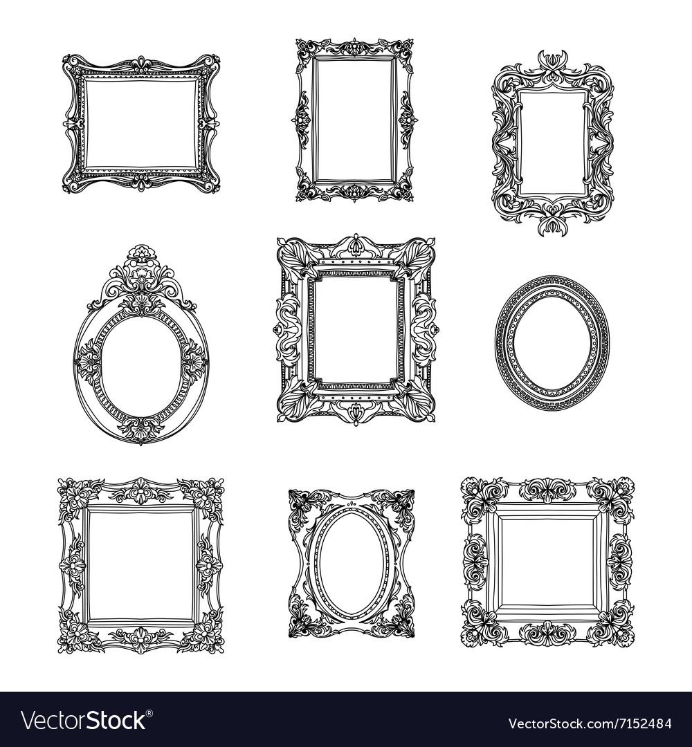 Hand drawn picture frames set sketch vector