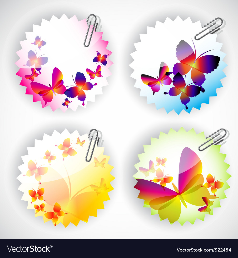 Round sticker with butterflies vector