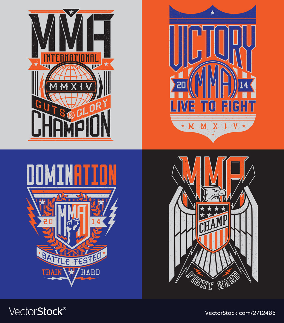 Mma tshirt design emblem set vector