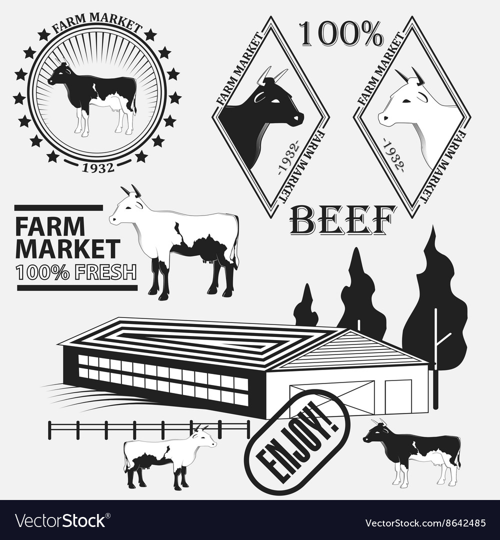 Set of premium beef labels badges and design vector
