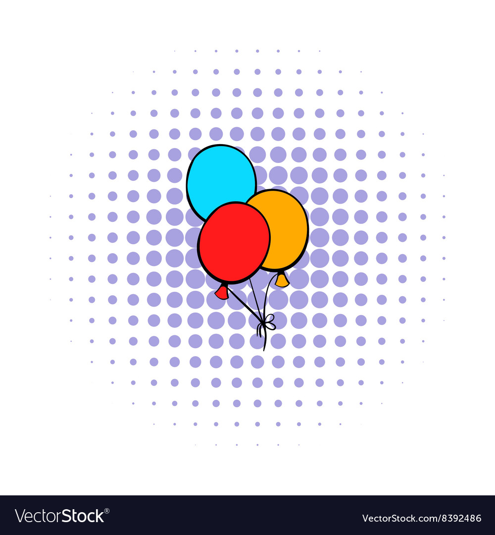 Bunch of colored baloons icon comics style vector
