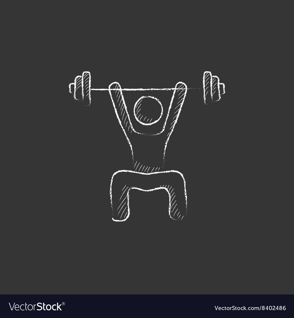 Man exercising with barbell drawn in chalk icon vector