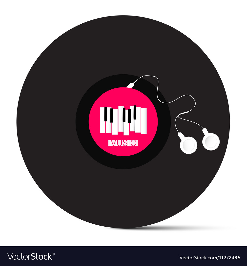 Vinyl lp record with headphones and piano keyboard vector