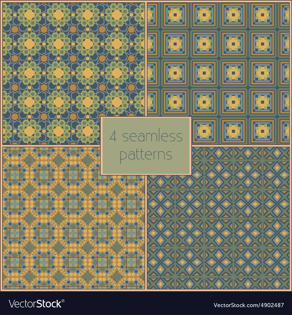 4 different seamless patterns tiling endless vector