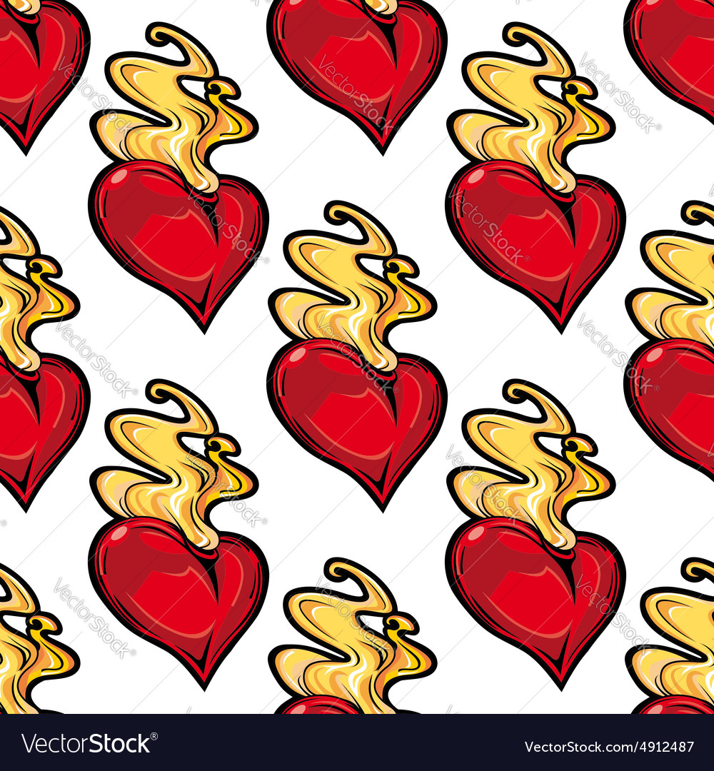 Burning red hot heart seamless pattern vector