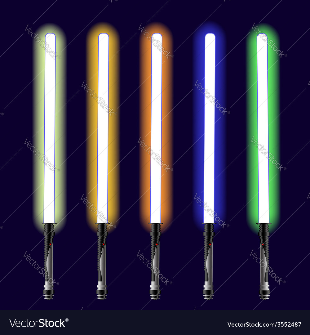 Light sabers set vector