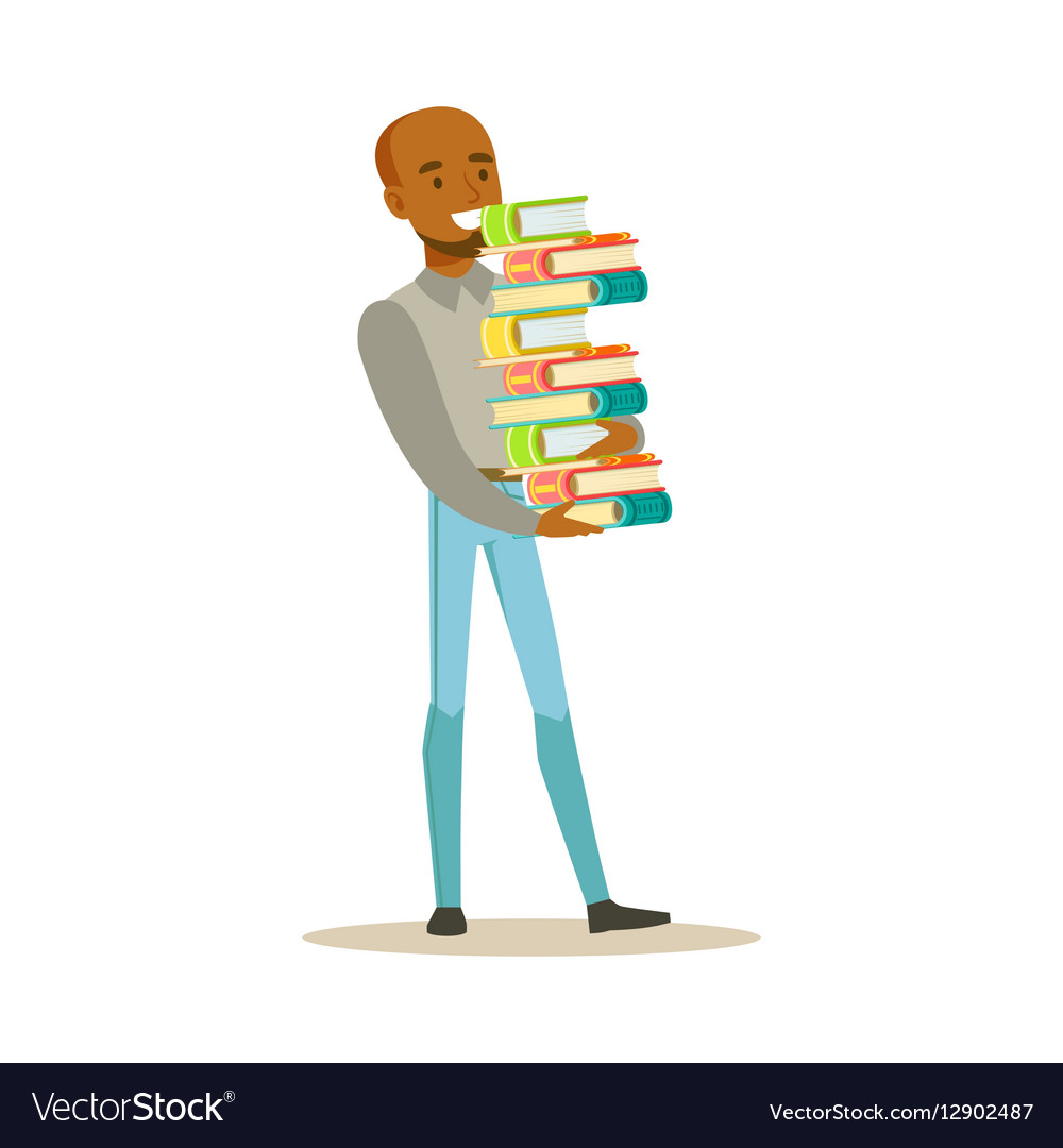 Man carrying tall pile of books smiling person in vector