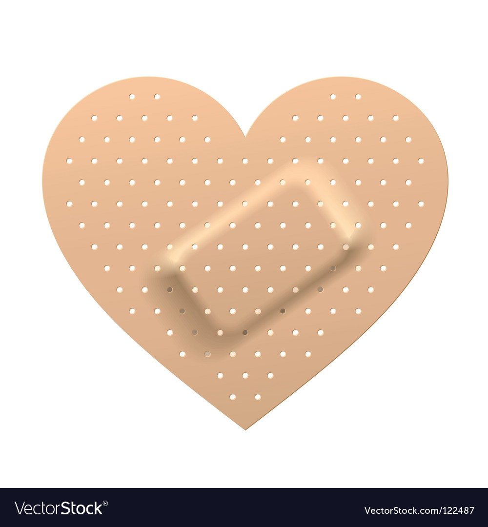 Plaster in shape of heart vector