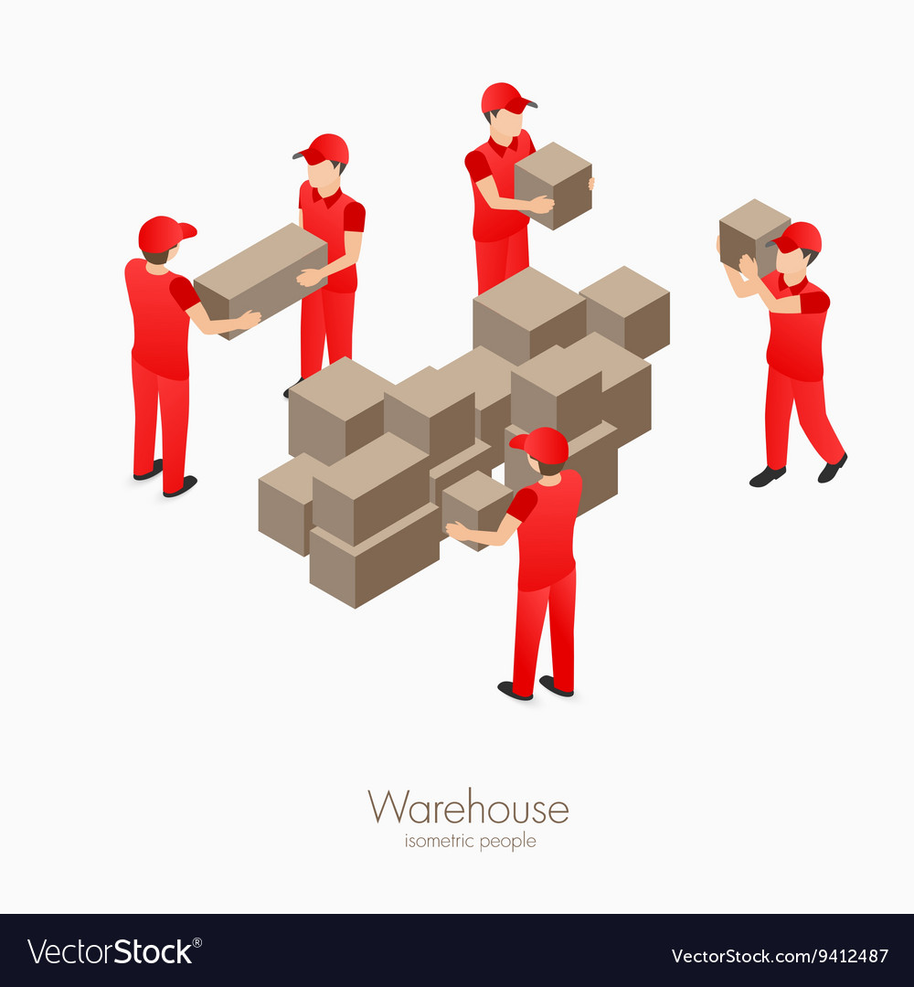Warehouse storehouse workers vector