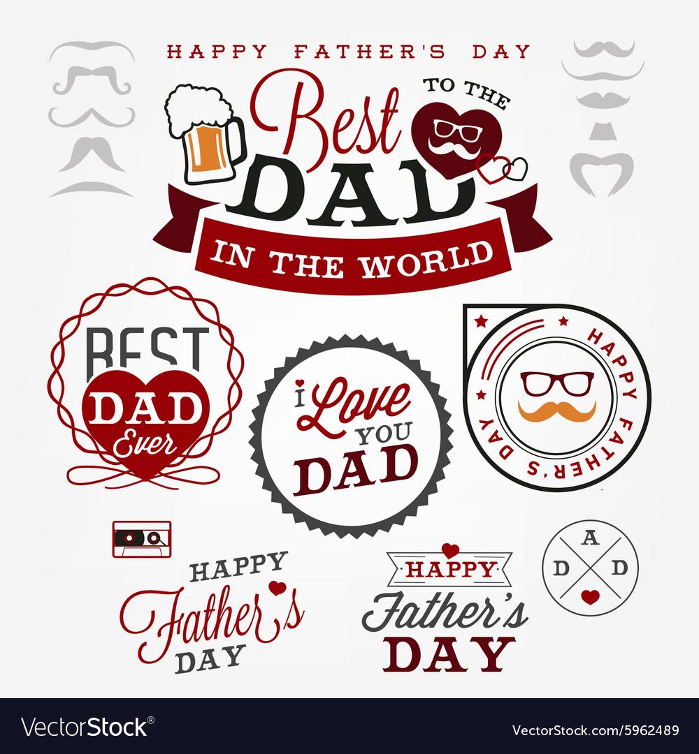 Best dad badges and labels in vintage style vector