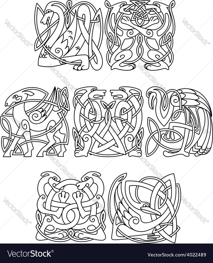 Celtic mythological animals and birds silhouettes vector