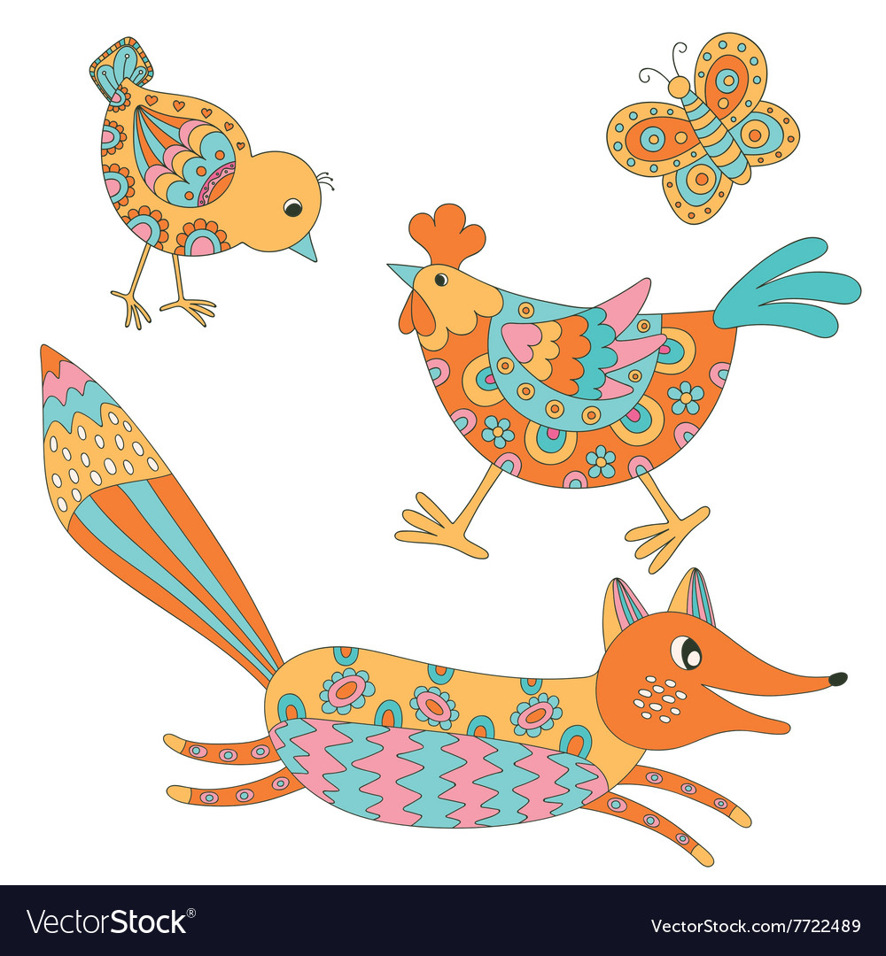 Set of animals  fox hend chicken and butterfly vector