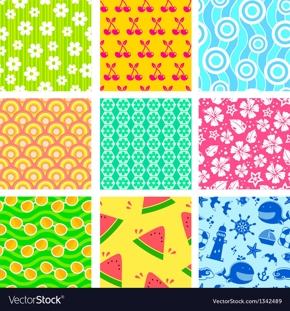 Summer patterns vector