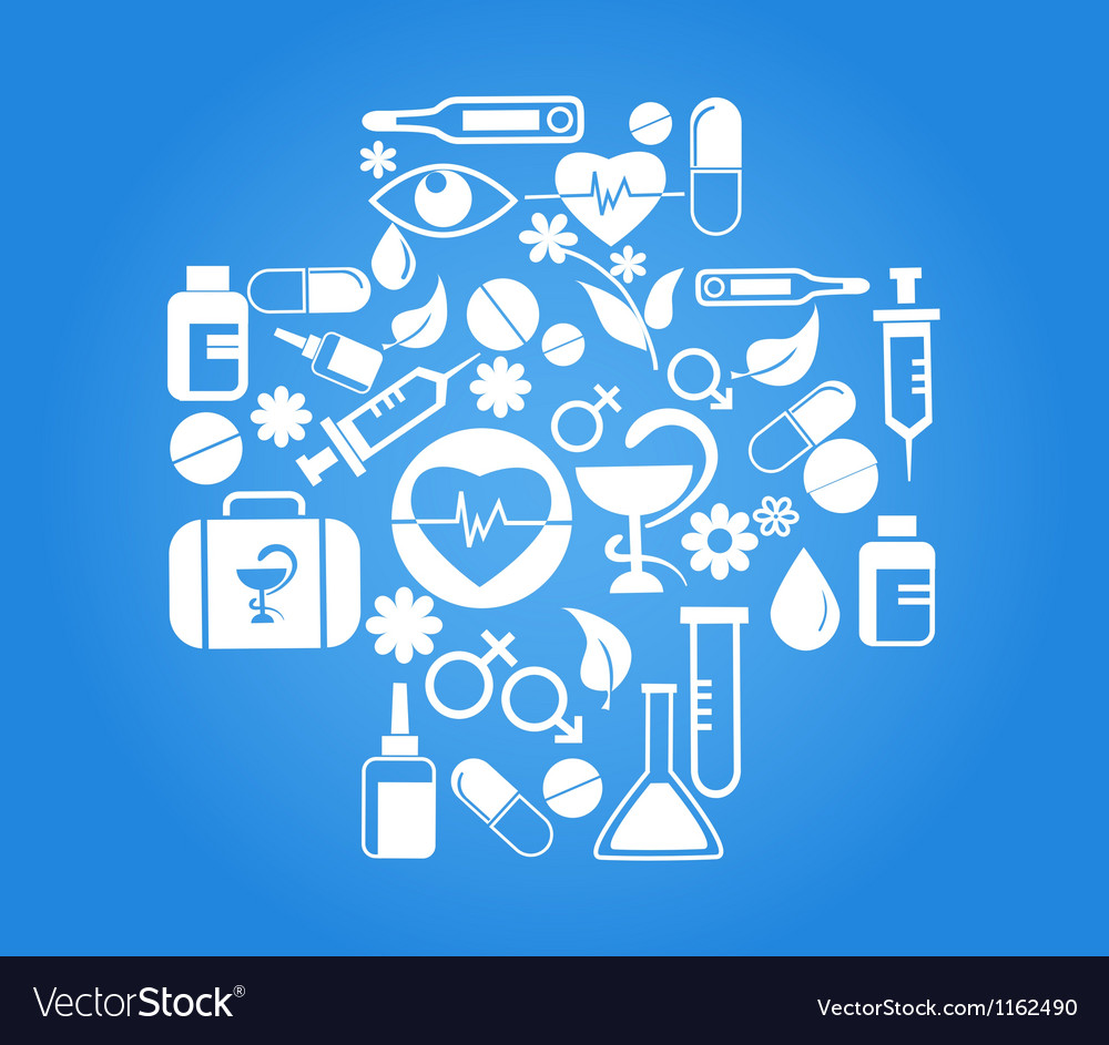 Medical cross with health icon set on blue vector