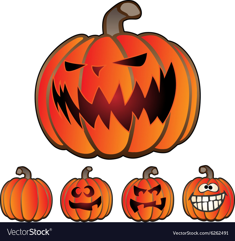 Halloween holiday pumpkin jack o lantern set vector