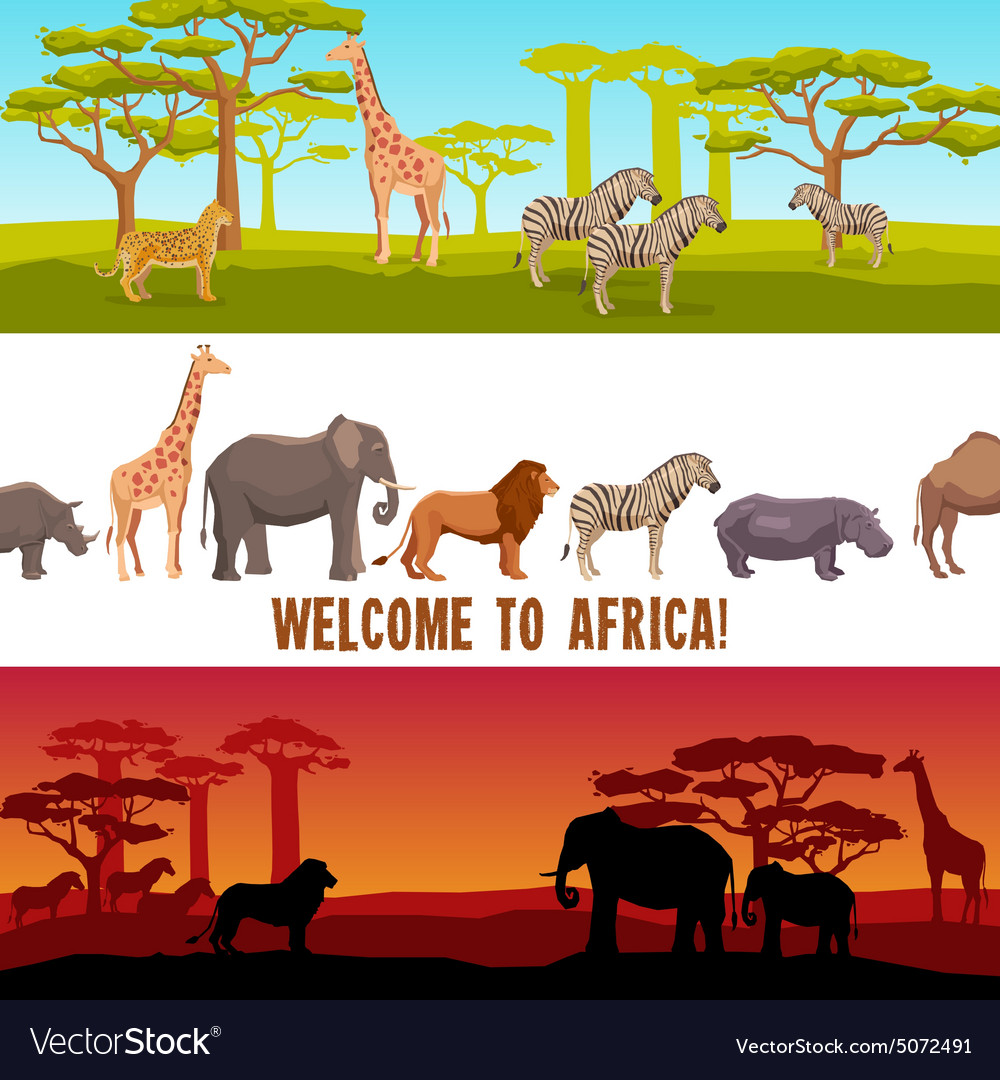 Horizontal african animals banners set vector