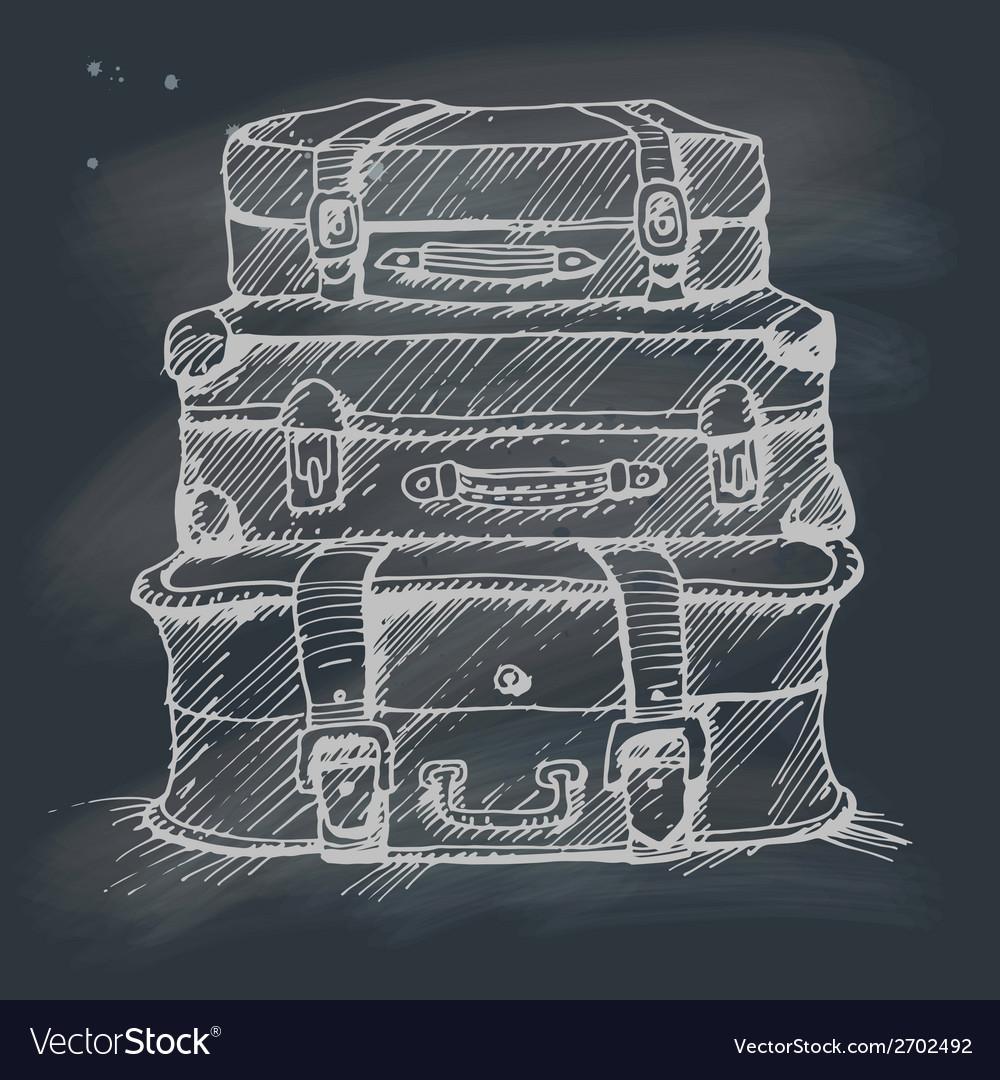 Hand drawn stack of suitcases on blackboard vector