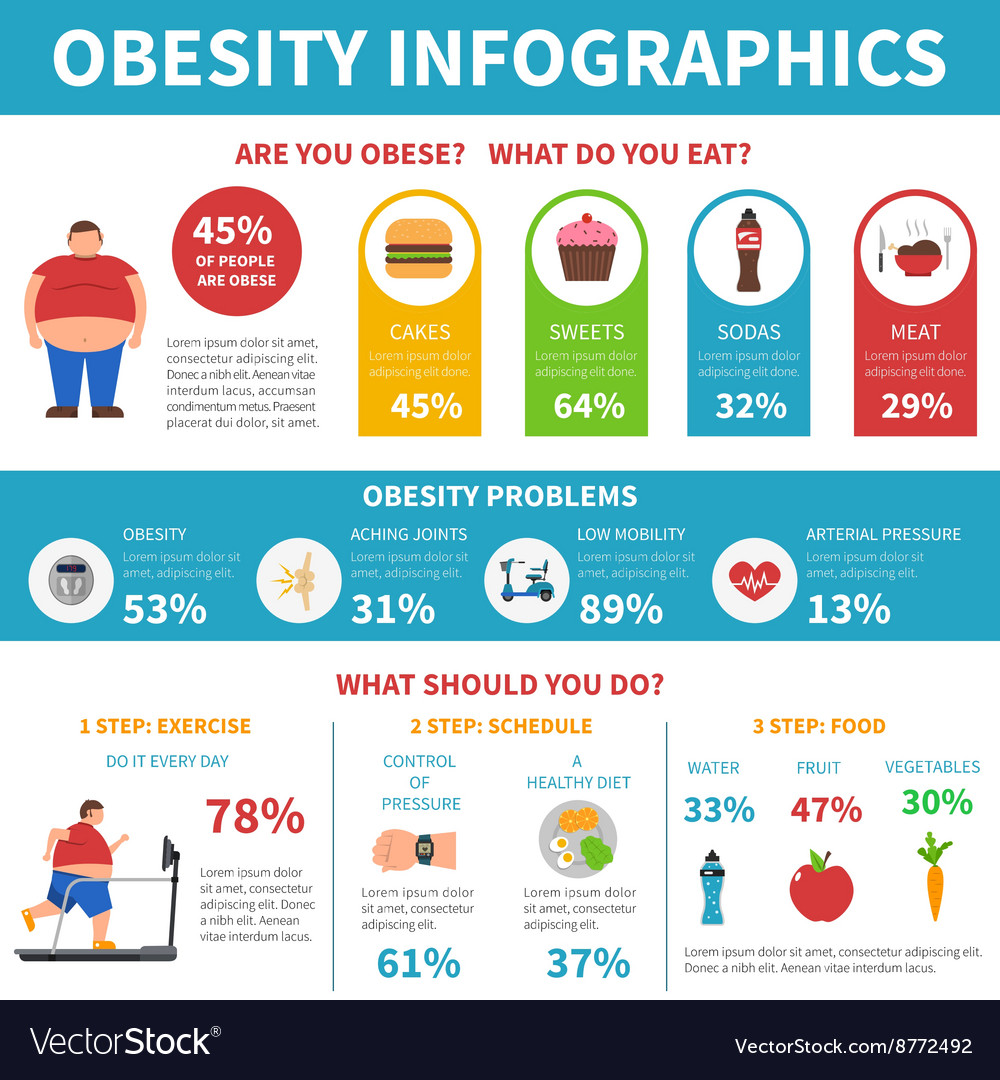 Obesity problems solution infographic flat poster vector