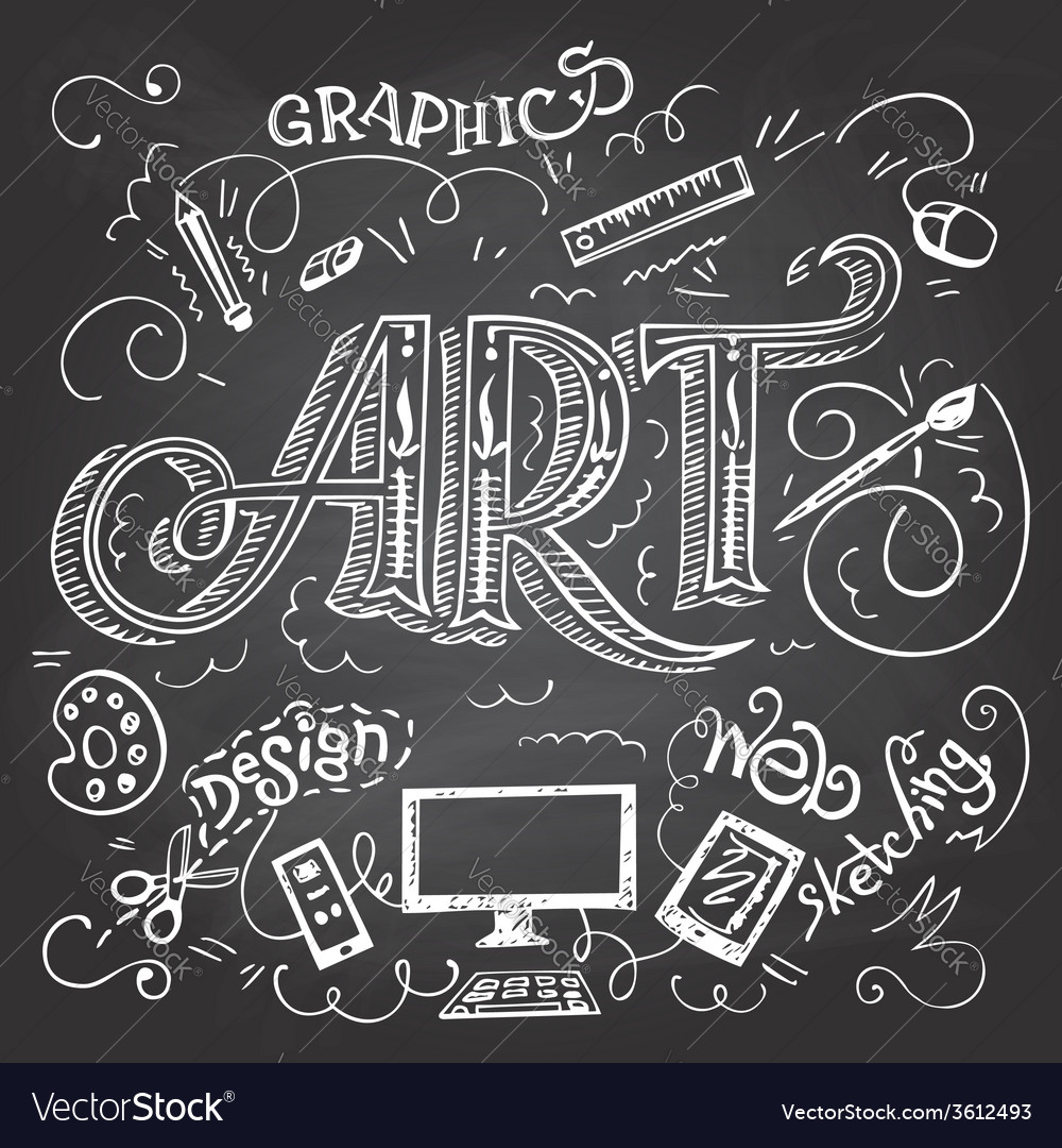 Art handlettering typography on chalkboard vector