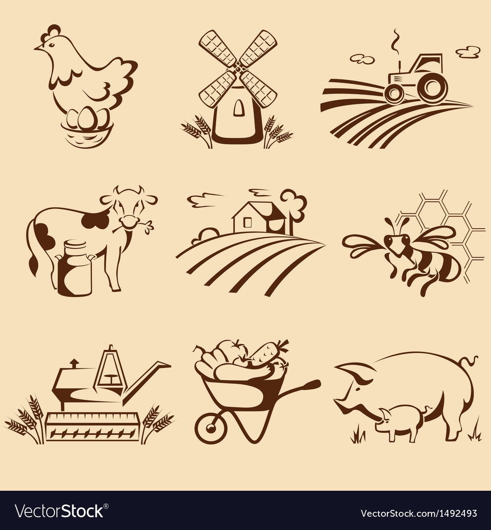 Farm emblems vector