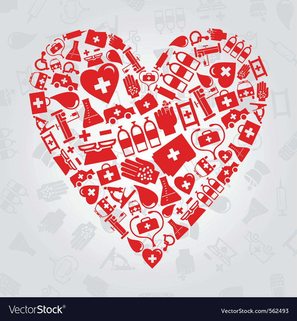 Medical symbols heart vector