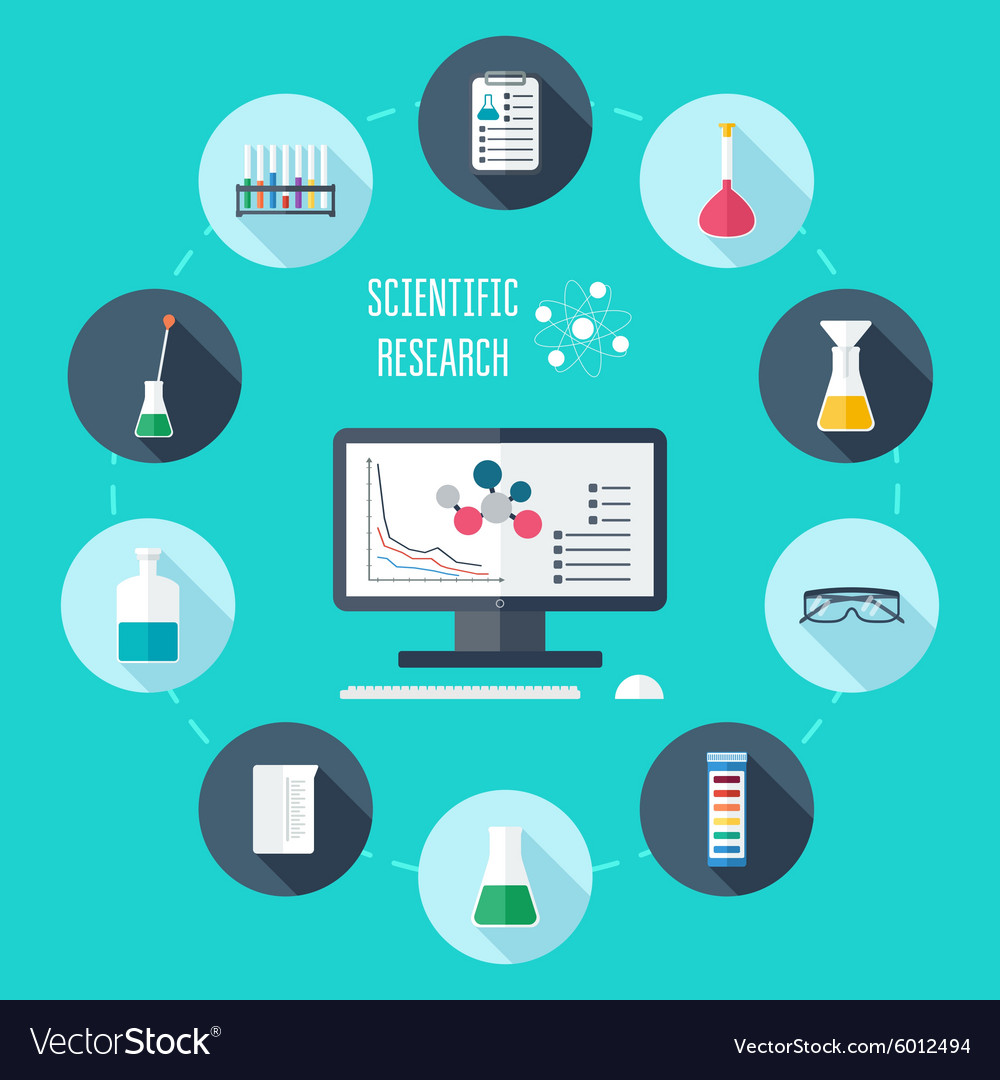 Chemical flat icon set scientific banner vector