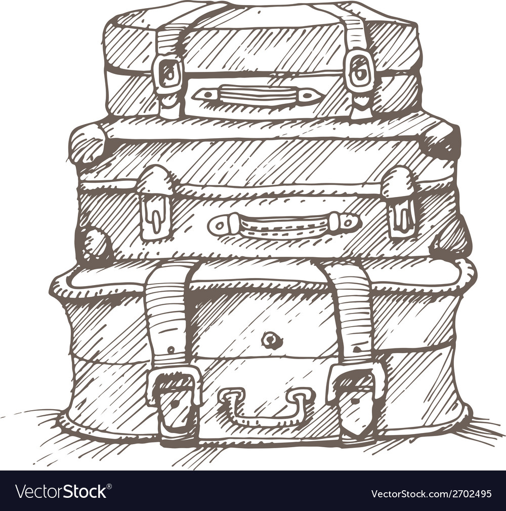 Hand drawn stack of suitcases vector