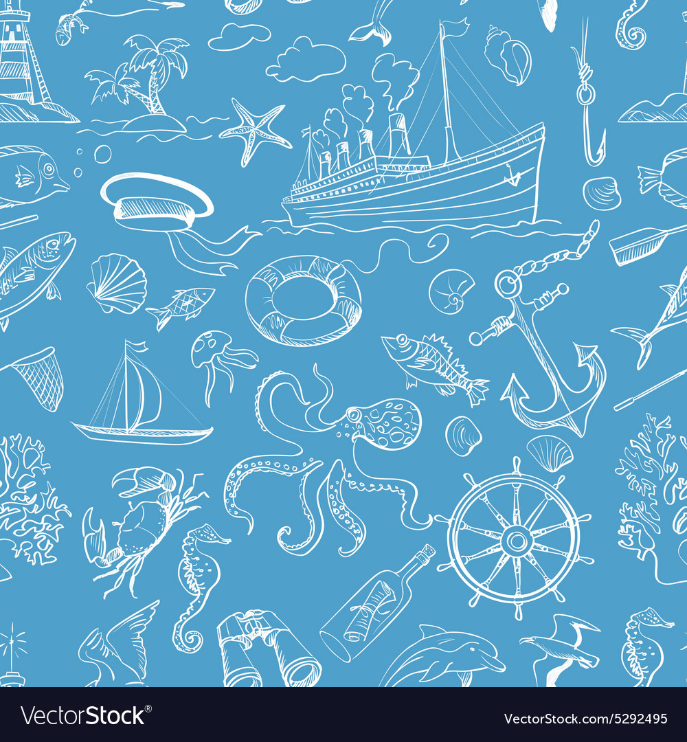 Nautical or marine themed seamless pattern vector