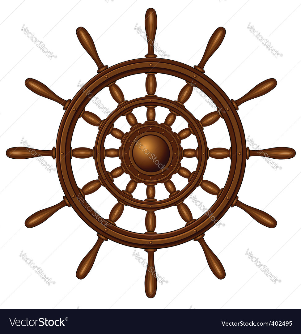 Wooden steering wheel vector