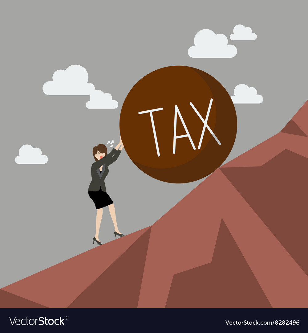Business woman pushing heavy tax uphill vector