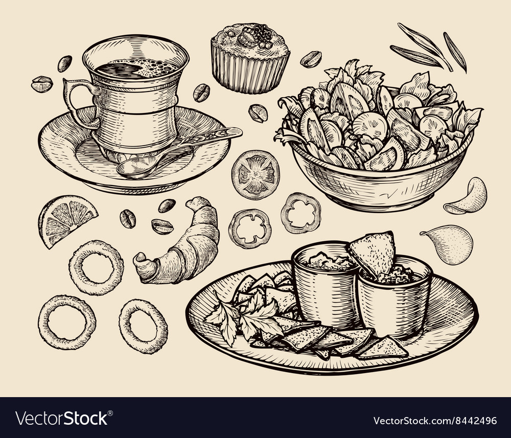 Fast food hand drawn cup coffee tea vegetable vector