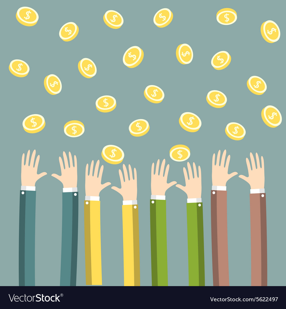 Hands with money vector