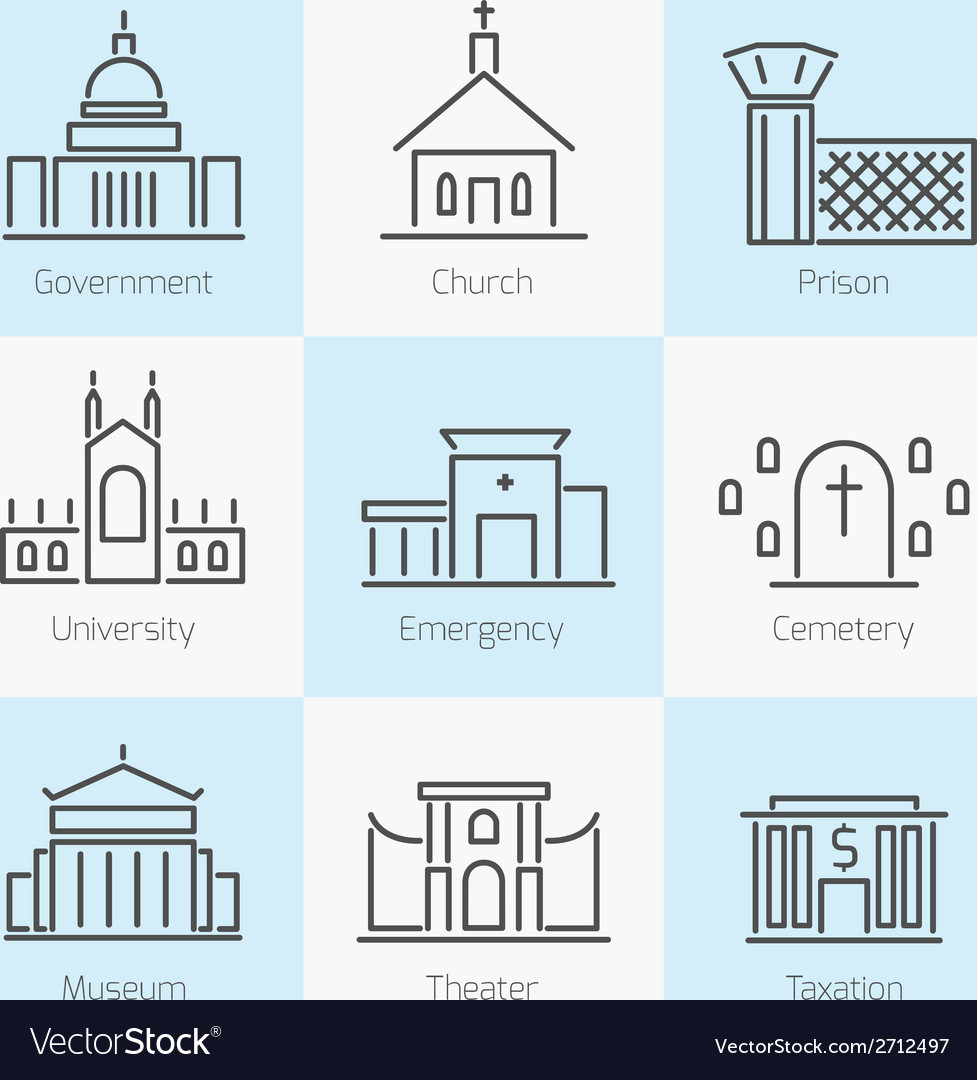 Set of government buildings icons vector