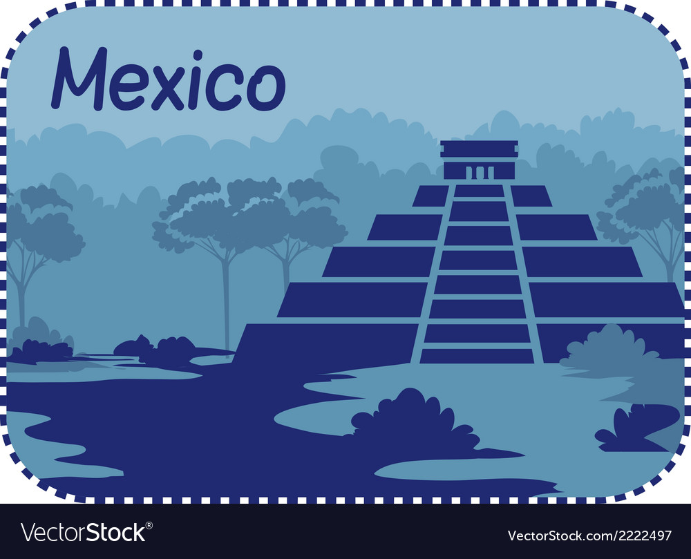 With mayan pyramids in mexico vector