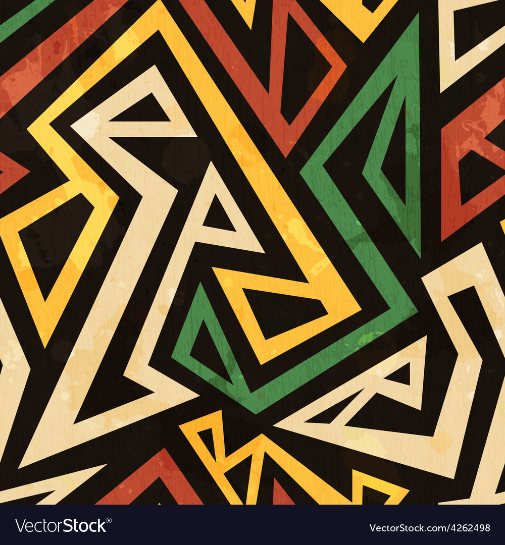 African geometric seamless pattern with grunge vector