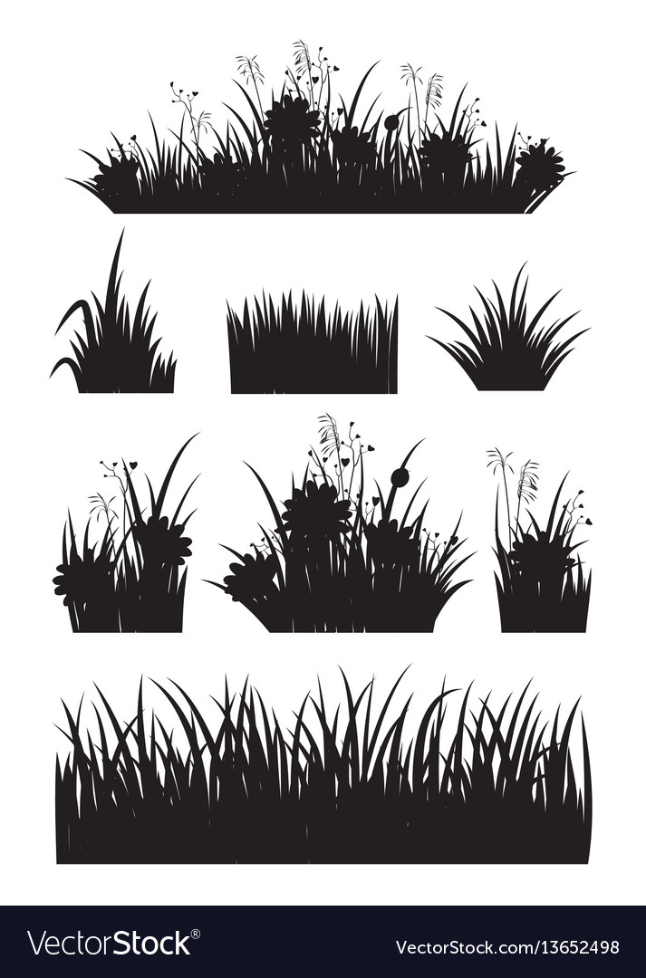 Border set with grass and flower silhouette set vector