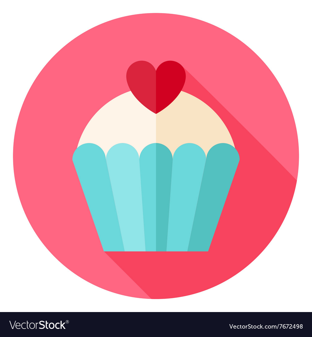 Cute lovely cupcake with heart circle icon vector