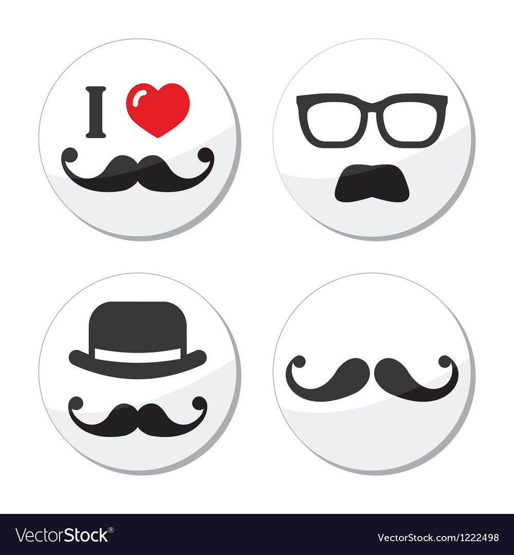 I love mustache moustache icons set vector