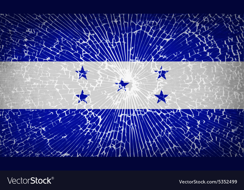 Flags honduras with broken glass texture vector