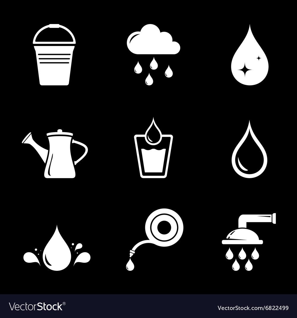 Set white watering icons vector