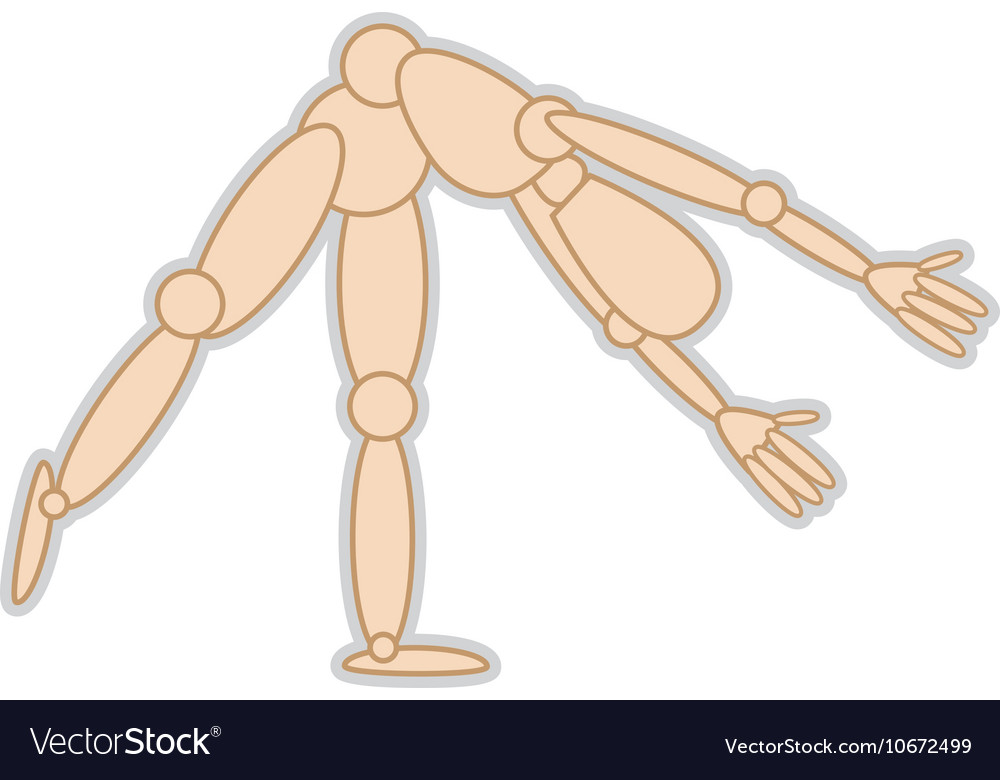 Wooden mannequin movement pose vector