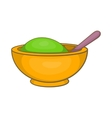 Yellow mortar and pestle icon cartoon style vector image
