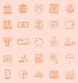 Banking line icons on orange background vector image vector image