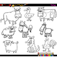 farm animals coloring bookd set vector image