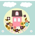 house with flowers vector image