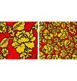 Khokhloma in grunge style Flowers and noise and vector image