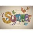 summer text with flowers dragonflies beetles bird vector image